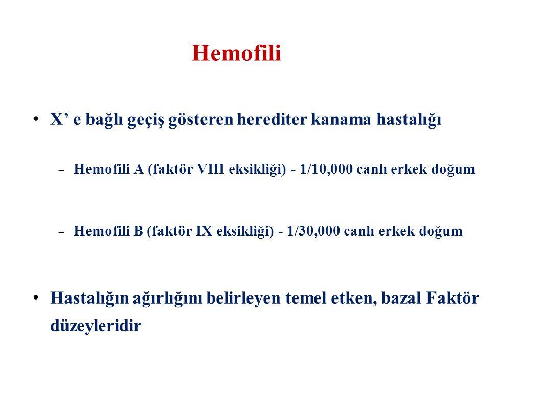 Hemofili X' e bağlı geçiş gösteren herediter kanama hastalığı