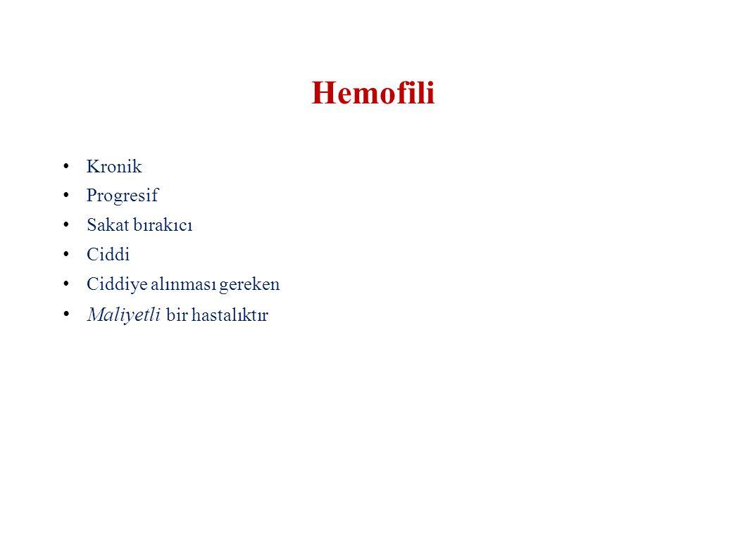 Hemofili Maliyetli bir hastalıktır Kronik Progresif Sakat bırakıcı