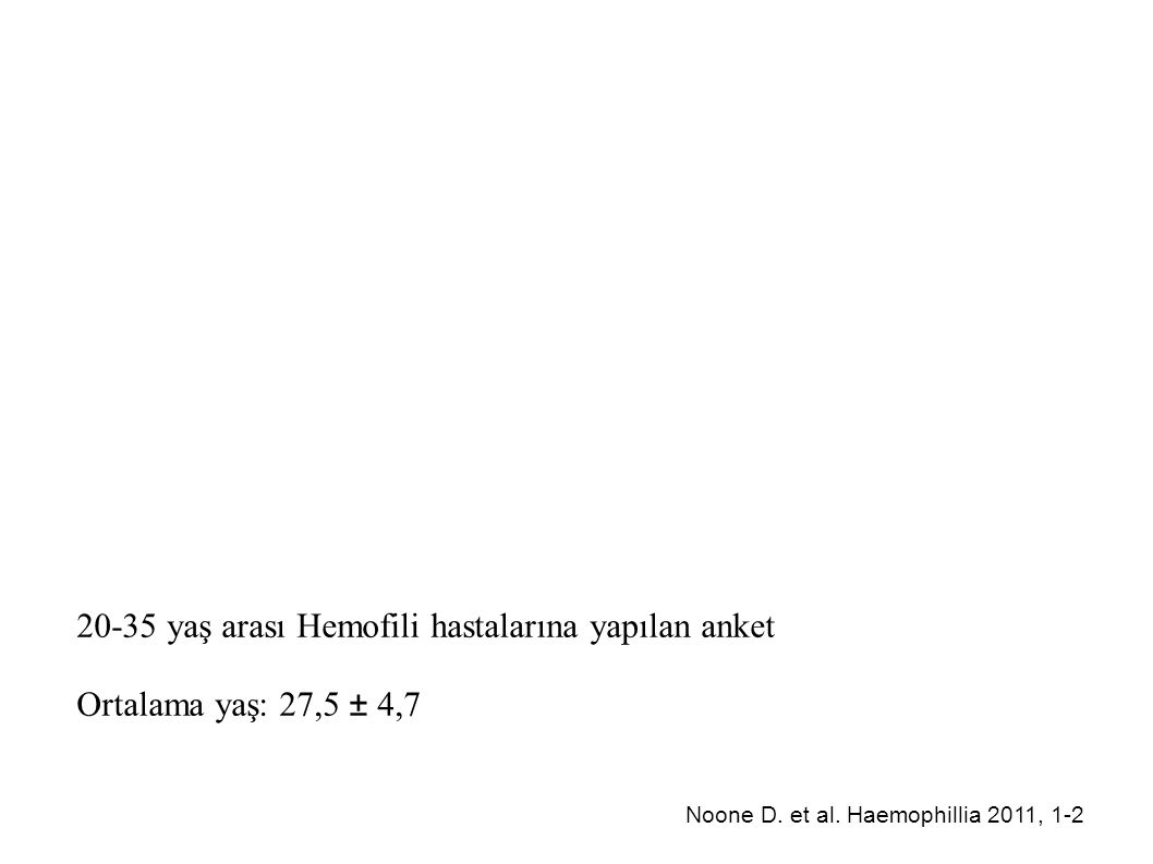20-35 yaş arası Hemofili hastalarına yapılan anket
