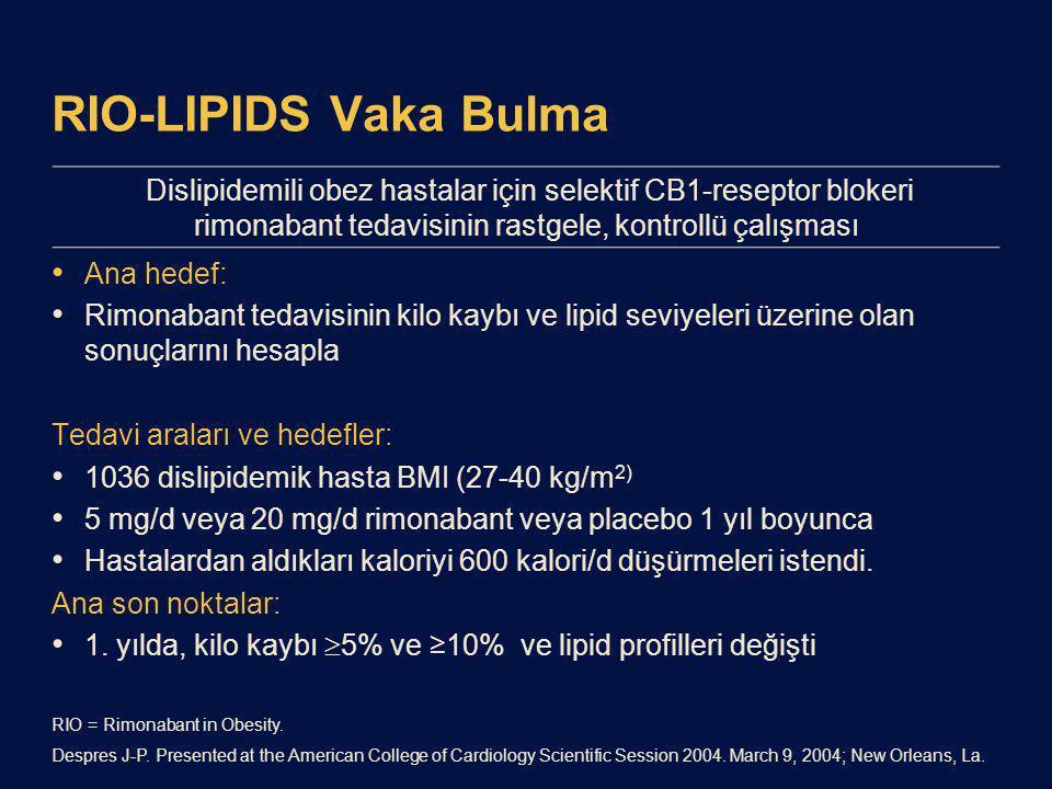 RIO-LIPIDS Vaka Bulma Dislipidemili obez hastalar için selektif CB1-reseptor blokeri rimonabant tedavisinin rastgele, kontrollü çalışması.