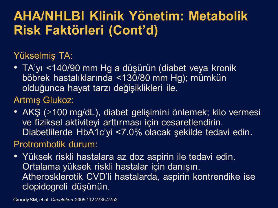 AHA/NHLBI Klinik Yönetim: Metabolik Risk Faktörleri (Cont'd)