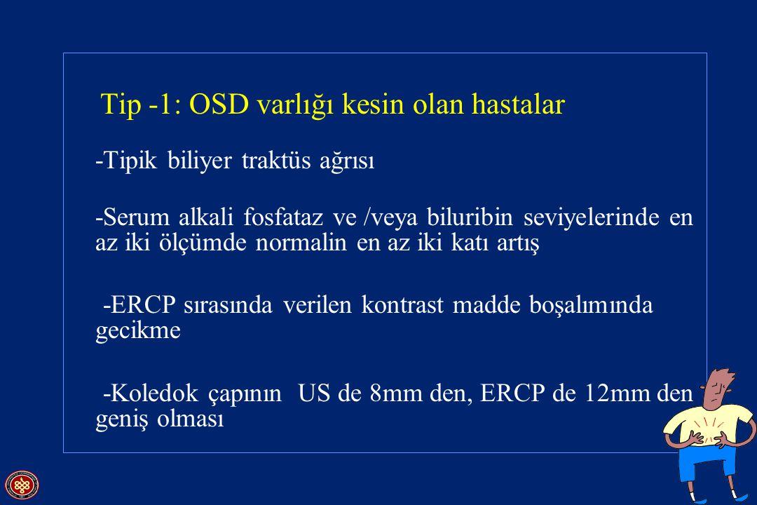 Tip -1: OSD varlığı kesin olan hastalar -Tipik biliyer traktüs ağrısı