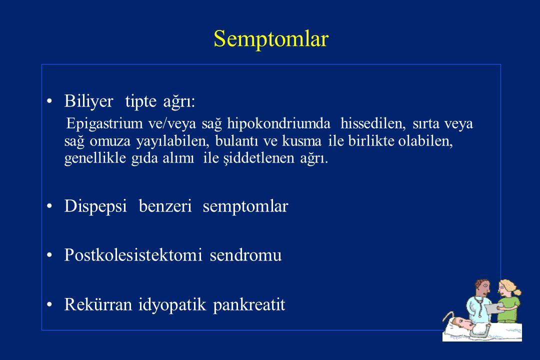 Semptomlar Biliyer tipte ağrı: Dispepsi benzeri semptomlar