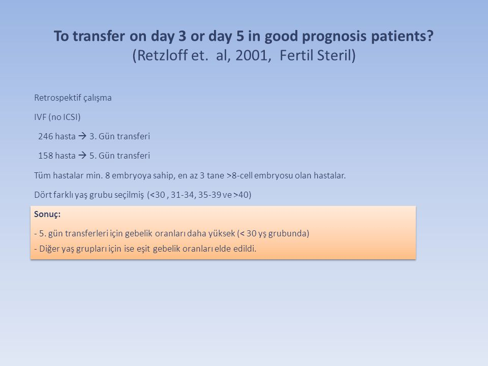 To transfer on day 3 or day 5 in good prognosis patients. (Retzloff et
