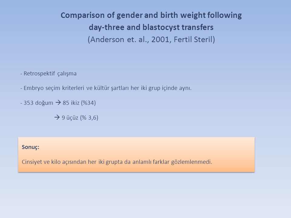 Comparison of gender and birth weight following day-three and blastocyst transfers (Anderson et. al., 2001, Fertil Steril)