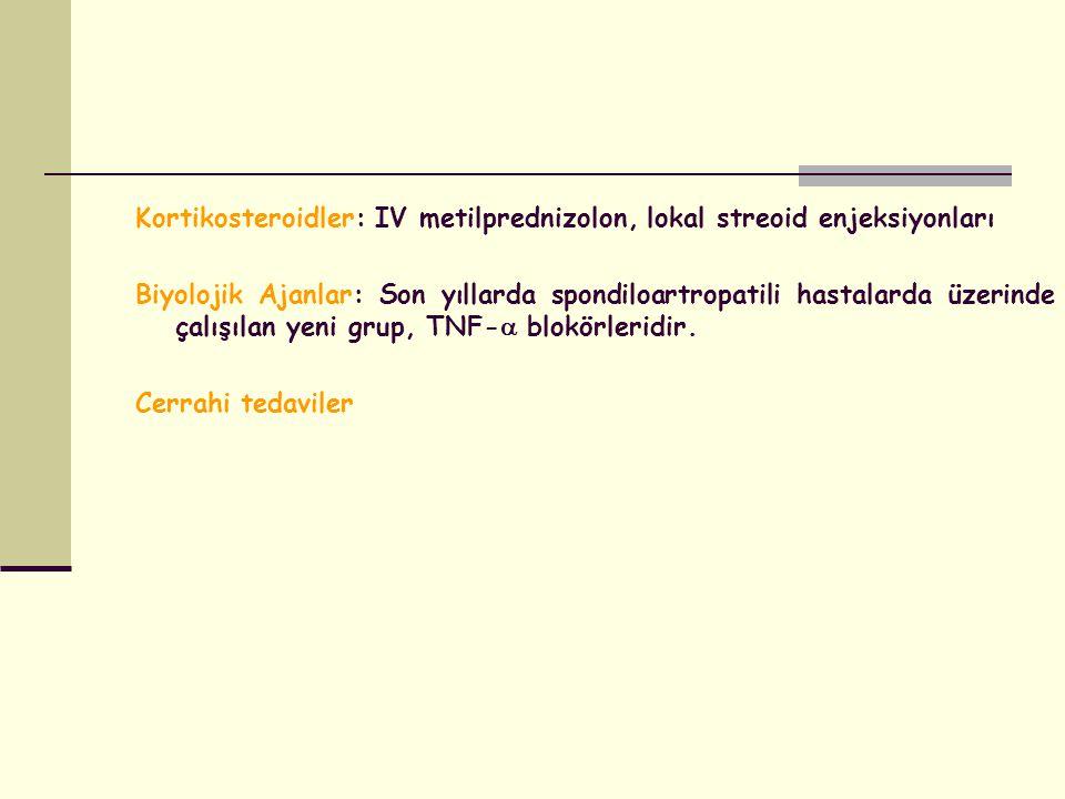 Kortikosteroidler: IV metilprednizolon, lokal streoid enjeksiyonları