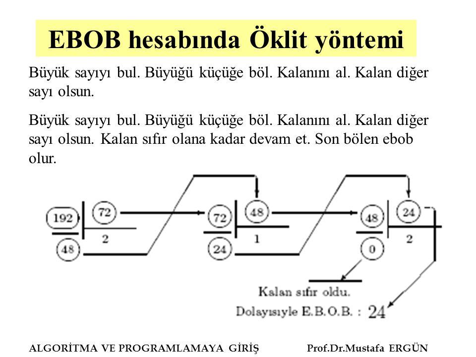 EBOB hesabında Öklit yöntemi