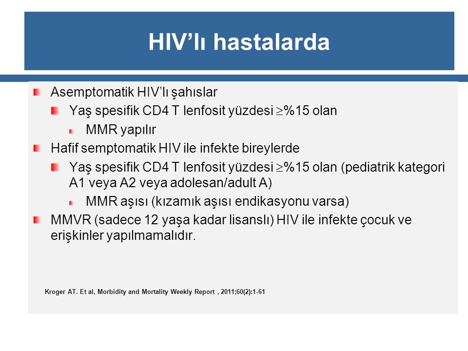 HIV'lı hastalarda Asemptomatik HIV'lı şahıslar