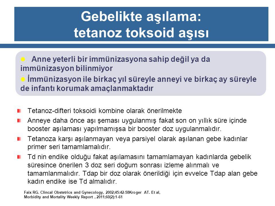 Gebelikte aşılama: tetanoz toksoid aşısı