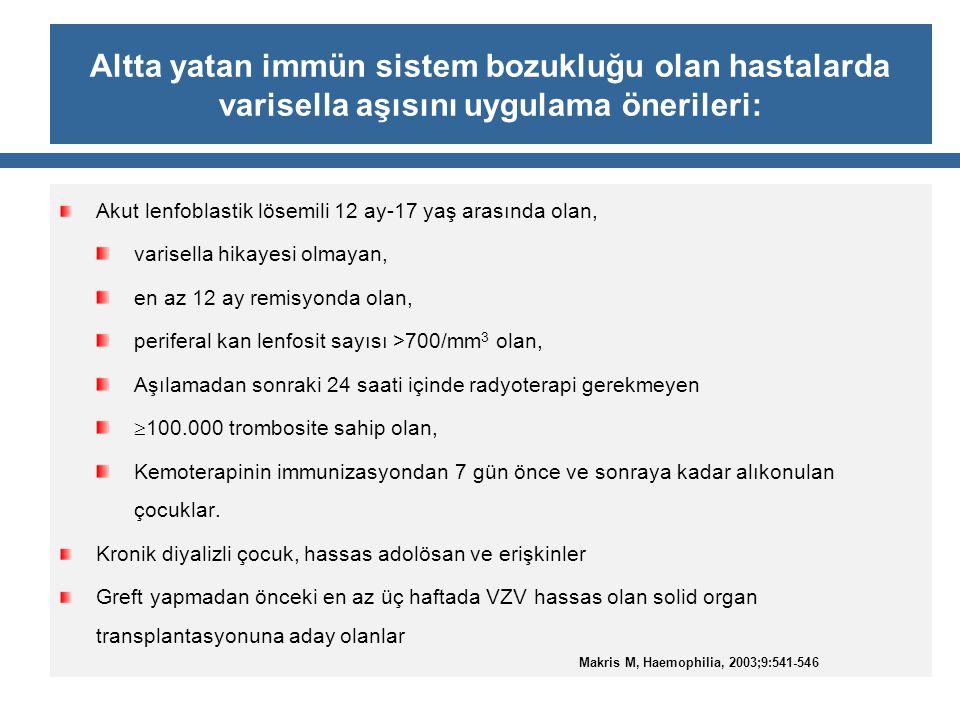 Altta yatan immün sistem bozukluğu olan hastalarda varisella aşısını uygulama önerileri: