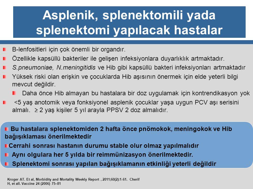 Asplenik, splenektomili yada splenektomi yapılacak hastalar