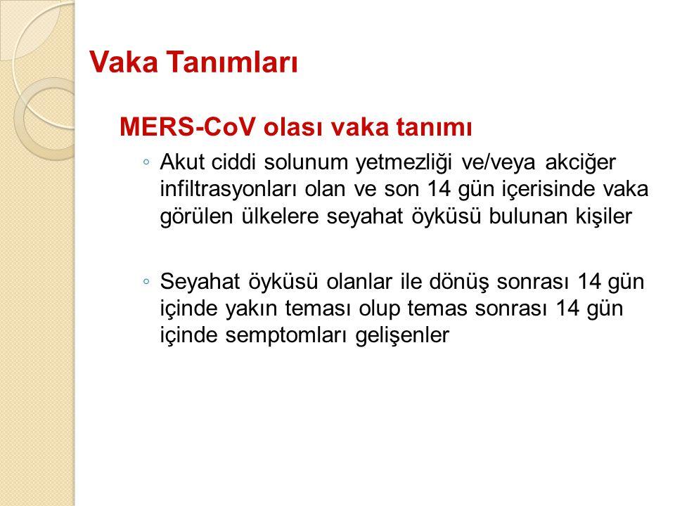 Vaka Tanımları MERS-CoV olası vaka tanımı