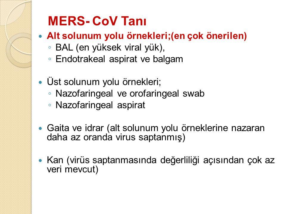 MERS- CoV Tanı Alt solunum yolu örnekleri;(en çok önerilen)