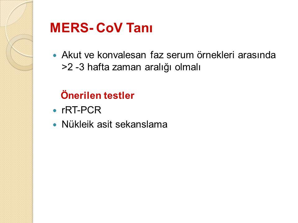 MERS- CoV Tanı Akut ve konvalesan faz serum örnekleri arasında >2 -3 hafta zaman aralığı olmalı. Önerilen testler.