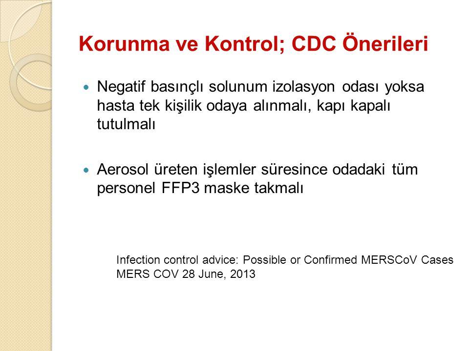 Korunma ve Kontrol; CDC Önerileri