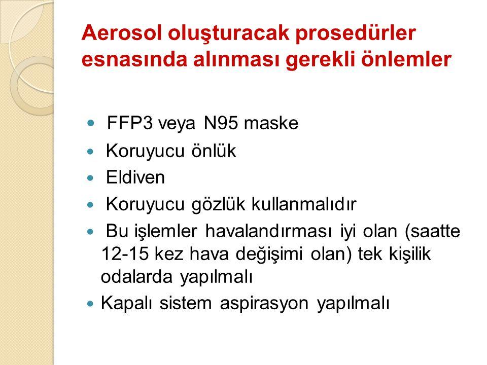 Aerosol oluşturacak prosedürler esnasında alınması gerekli önlemler