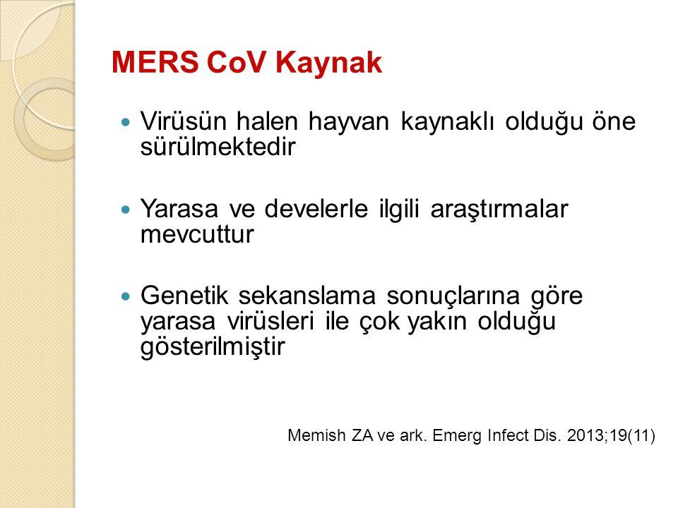 MERS CoV Kaynak Virüsün halen hayvan kaynaklı olduğu öne sürülmektedir