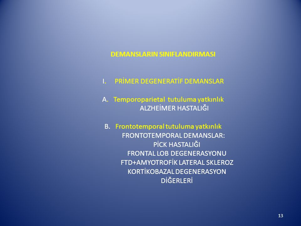 DEMANSLARIN SINIFLANDIRMASI I. PRİMER DEGENERATİF DEMANSLAR A