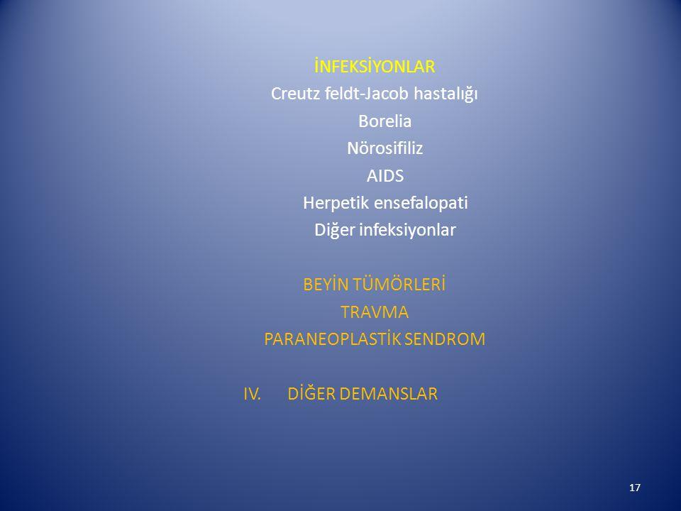 Creutz feldt-Jacob hastalığı Borelia Nörosifiliz AIDS