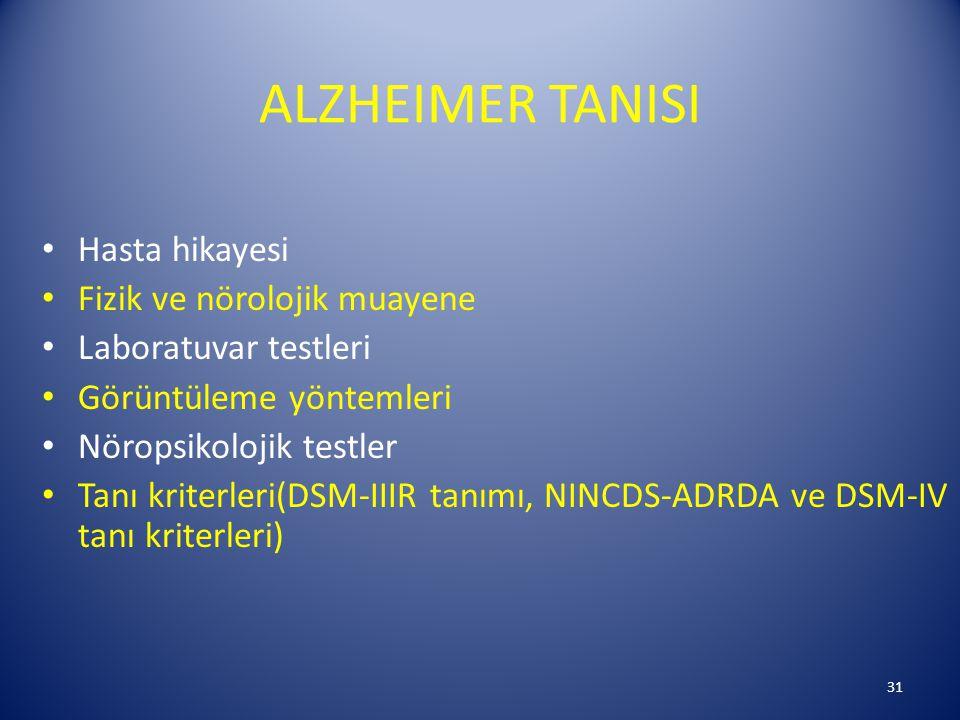 ALZHEIMER TANISI Hasta hikayesi Fizik ve nörolojik muayene