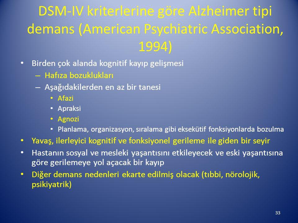 DSM-IV kriterlerine göre Alzheimer tipi demans (American Psychiatric Association, 1994)