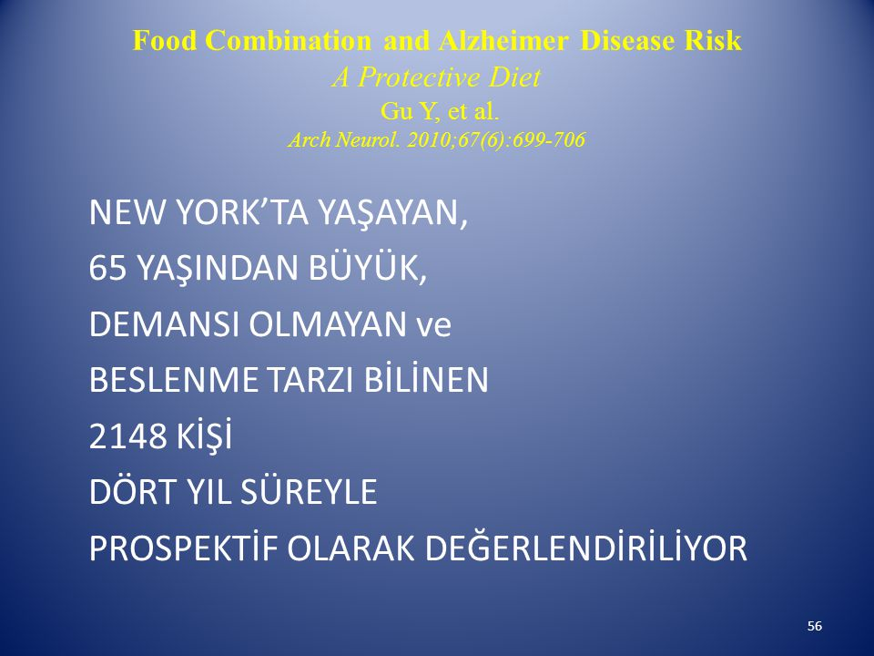Food Combination and Alzheimer Disease Risk A Protective Diet Gu Y, et al. Arch Neurol. 2010;67(6):