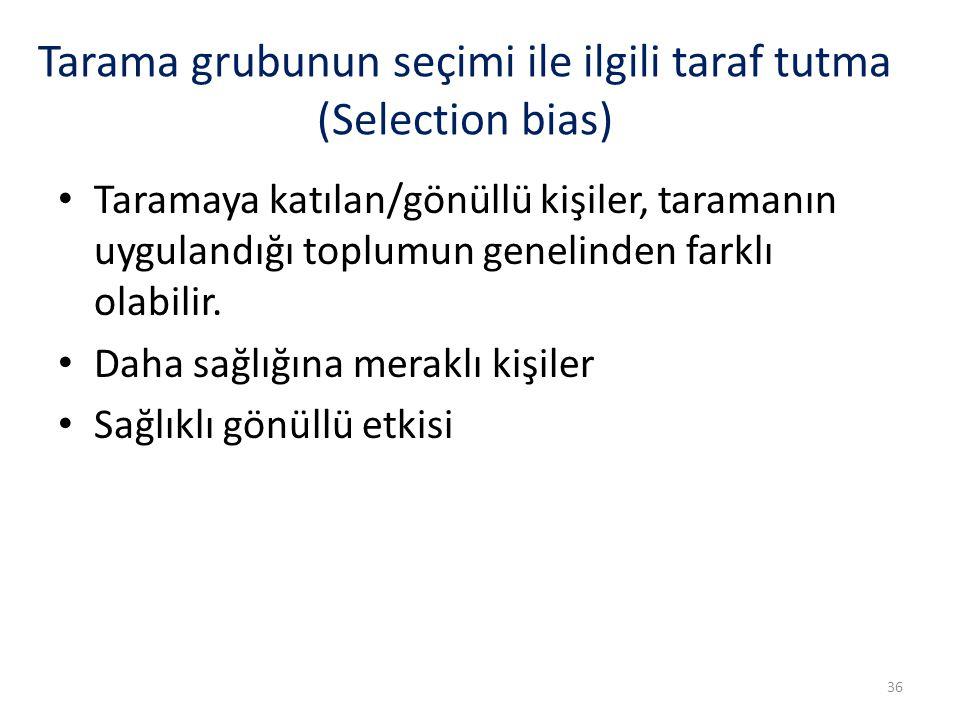 Tarama grubunun seçimi ile ilgili taraf tutma (Selection bias)