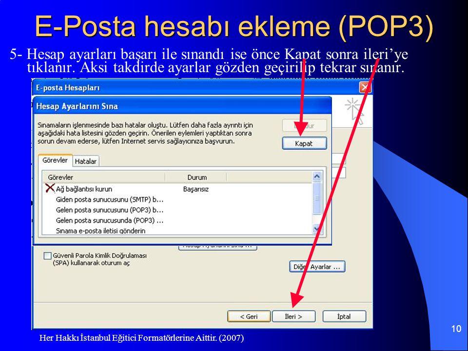 E-Posta hesabı ekleme (POP3)