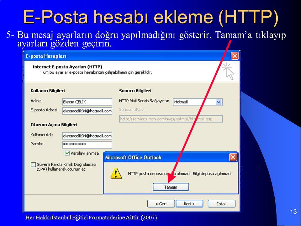 E-Posta hesabı ekleme (HTTP)