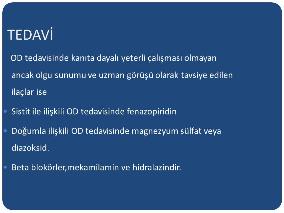 TEDAVİ OD tedavisinde kanıta dayalı yeterli çalışması olmayan ancak olgu sunumu ve uzman görüşü olarak tavsiye edilen ilaçlar ise.