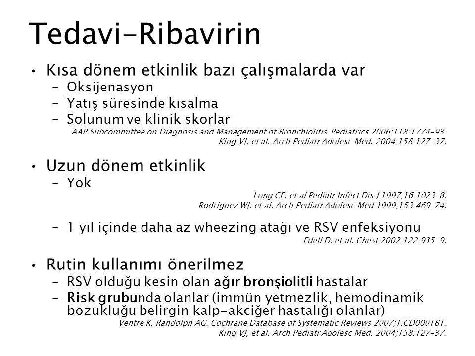 Tedavi-Ribavirin Kısa dönem etkinlik bazı çalışmalarda var