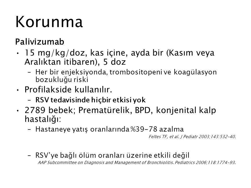 Korunma Palivizumab. 15 mg/kg/doz, kas içine, ayda bir (Kasım veya Aralıktan itibaren), 5 doz.
