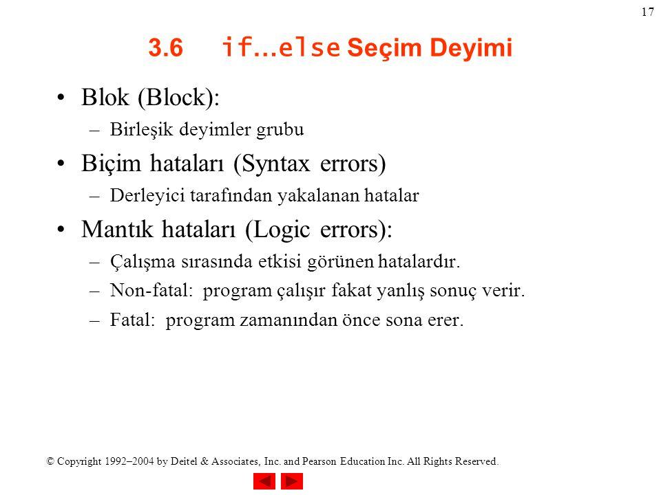 Biçim hataları (Syntax errors) Mantık hataları (Logic errors):