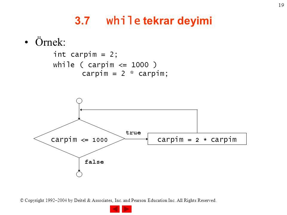 3.7 while tekrar deyimi Örnek: int carpim = 2;