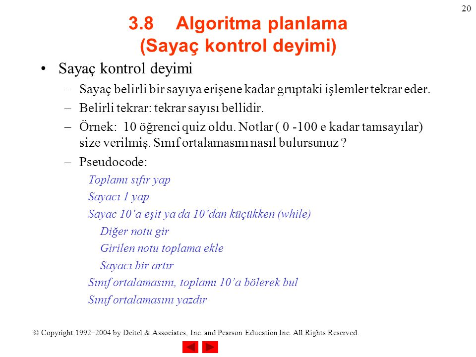 3.8 Algoritma planlama (Sayaç kontrol deyimi)