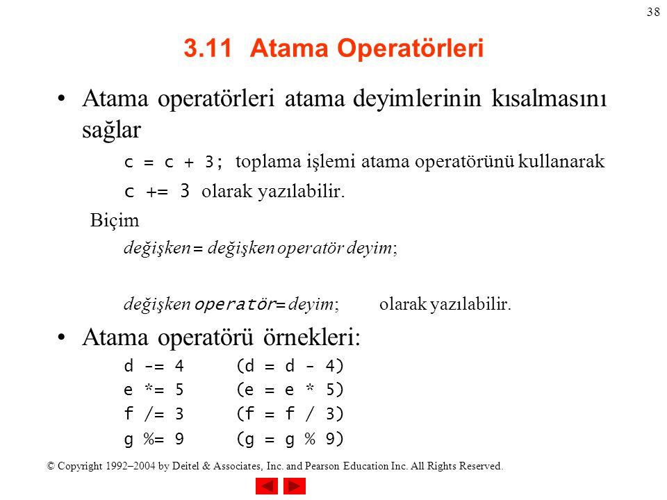 Atama operatörleri atama deyimlerinin kısalmasını sağlar