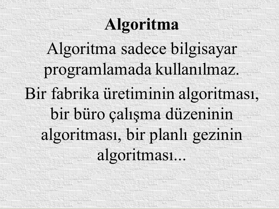 Algoritma sadece bilgisayar programlamada kullanılmaz.