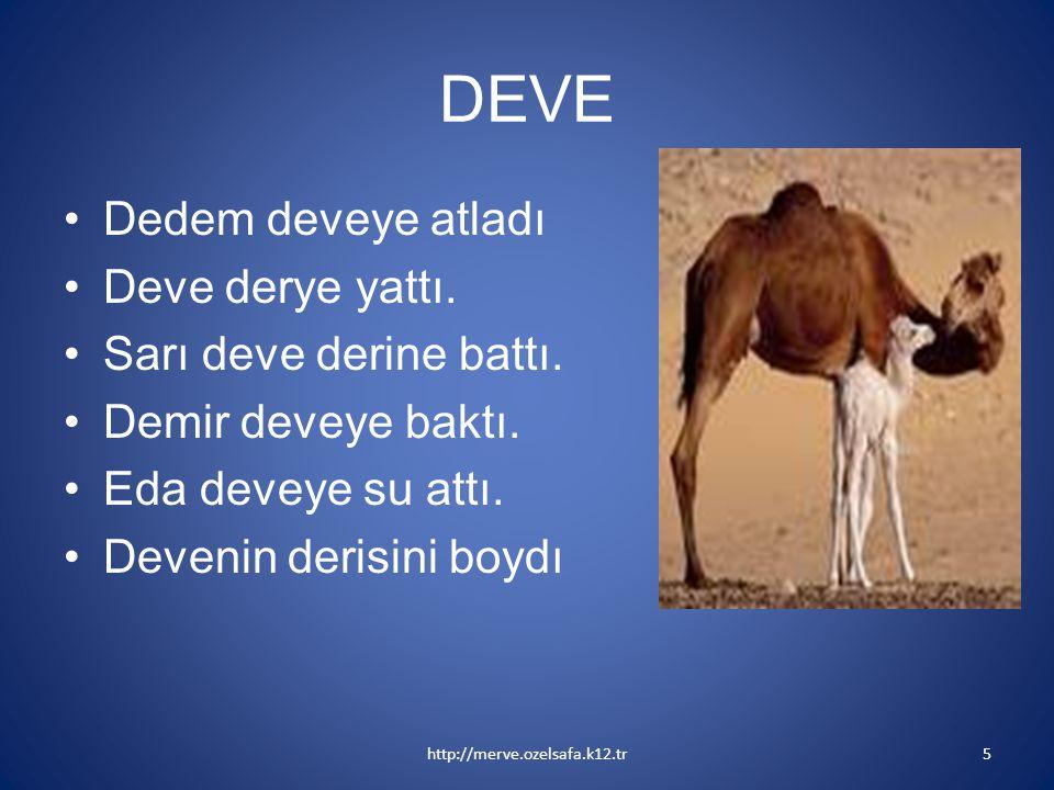 DEVE Dedem deveye atladı Deve derye yattı. Sarı deve derine battı.