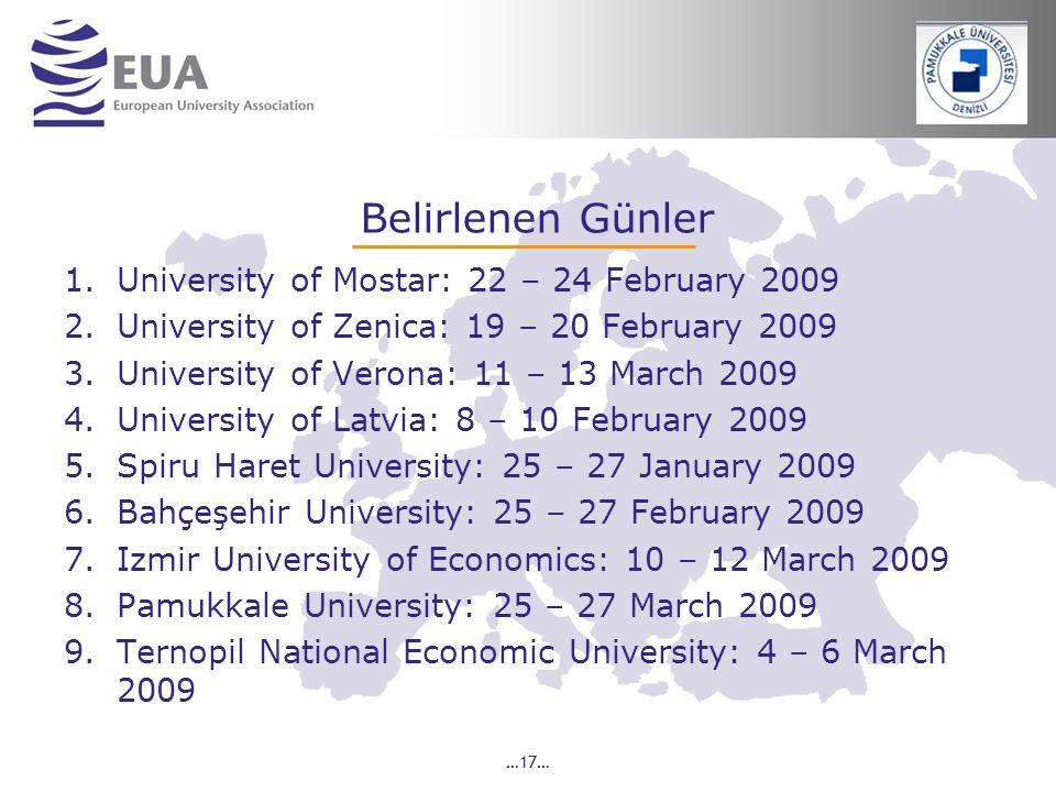 Belirlenen Günler University of Mostar: 22 – 24 February 2009