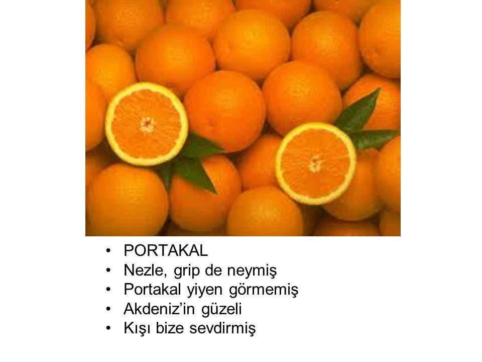 PORTAKAL Nezle, grip de neymiş Portakal yiyen görmemiş Akdeniz'in güzeli Kışı bize sevdirmiş