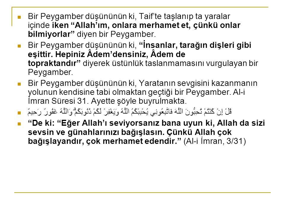 Bir Peygamber düşününün ki, Taif'te taşlanıp ta yaralar içinde iken Allah'ım, onlara merhamet et, çünkü onlar bilmiyorlar diyen bir Peygamber.