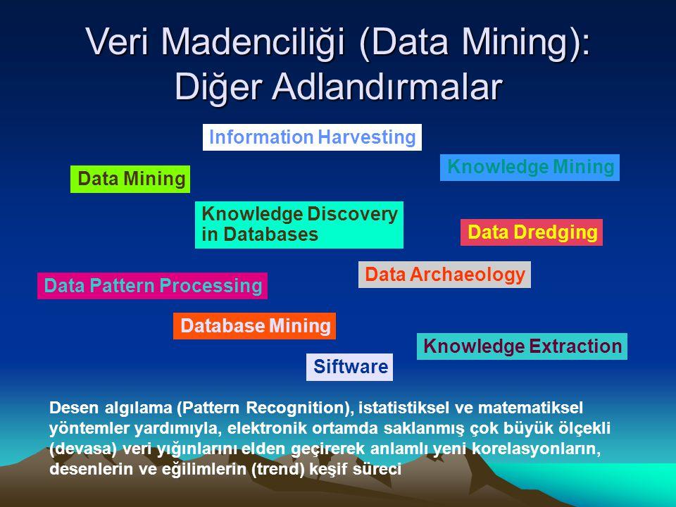 Veri Madenciliği (Data Mining): Diğer Adlandırmalar