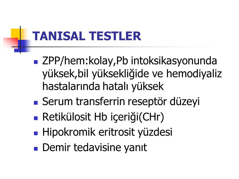 TANISAL TESTLER ZPP/hem:kolay,Pb intoksikasyonunda yüksek,bil yüksekliğide ve hemodiyaliz hastalarında hatalı yüksek.