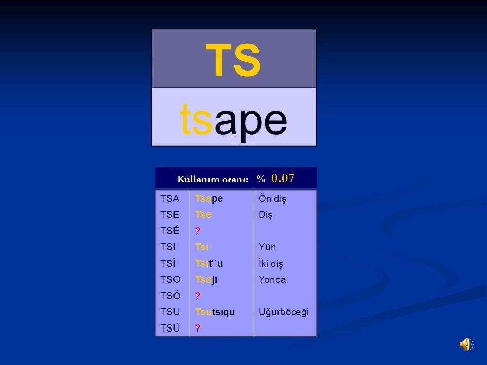 TS tsape Kullanım oranı: % 0.07 TSA Tsape Ön diş TSE Tse Diş TSÉ TSI