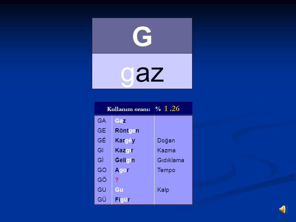 G gaz Kullanım oranı: % 1 .26 GA Gaz GE Röntgen GÉ Kargéy Doğan GI
