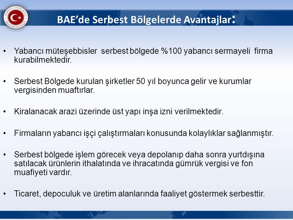 BAE'de Serbest Bölgelerde Avantajlar: