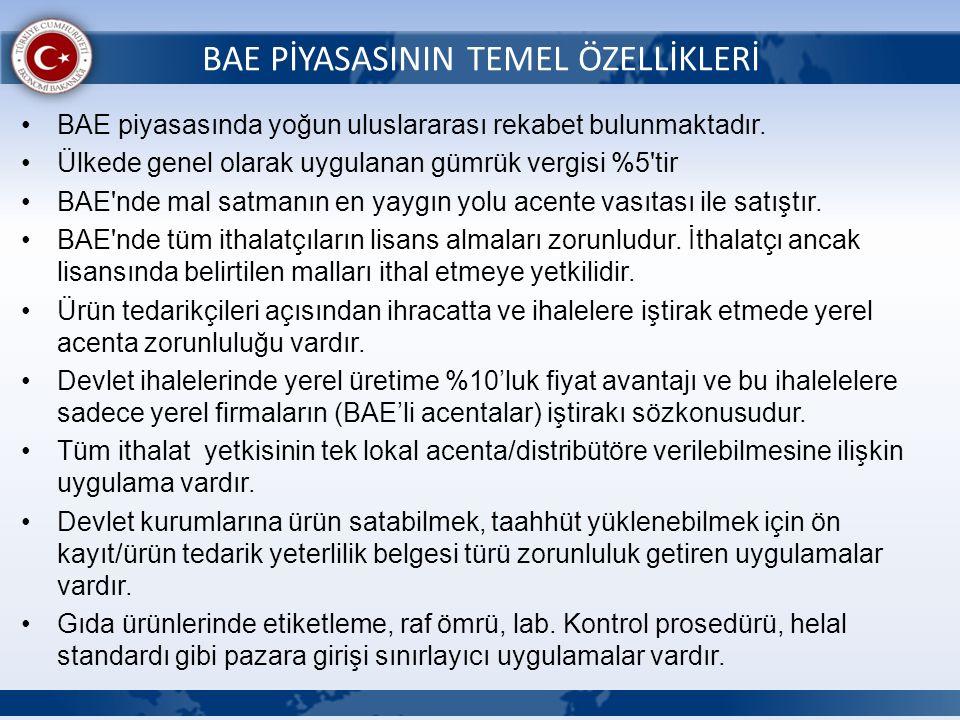 BAE PİYASASININ TEMEL ÖZELLİKLERİ