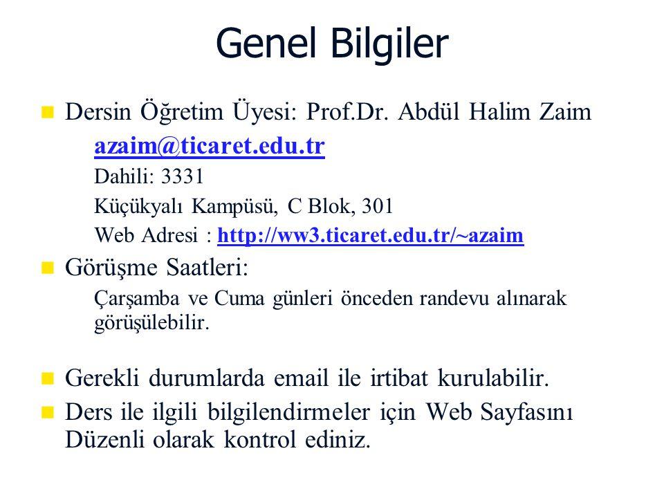 Genel Bilgiler Dersin Öğretim Üyesi: Prof.Dr. Abdül Halim Zaim
