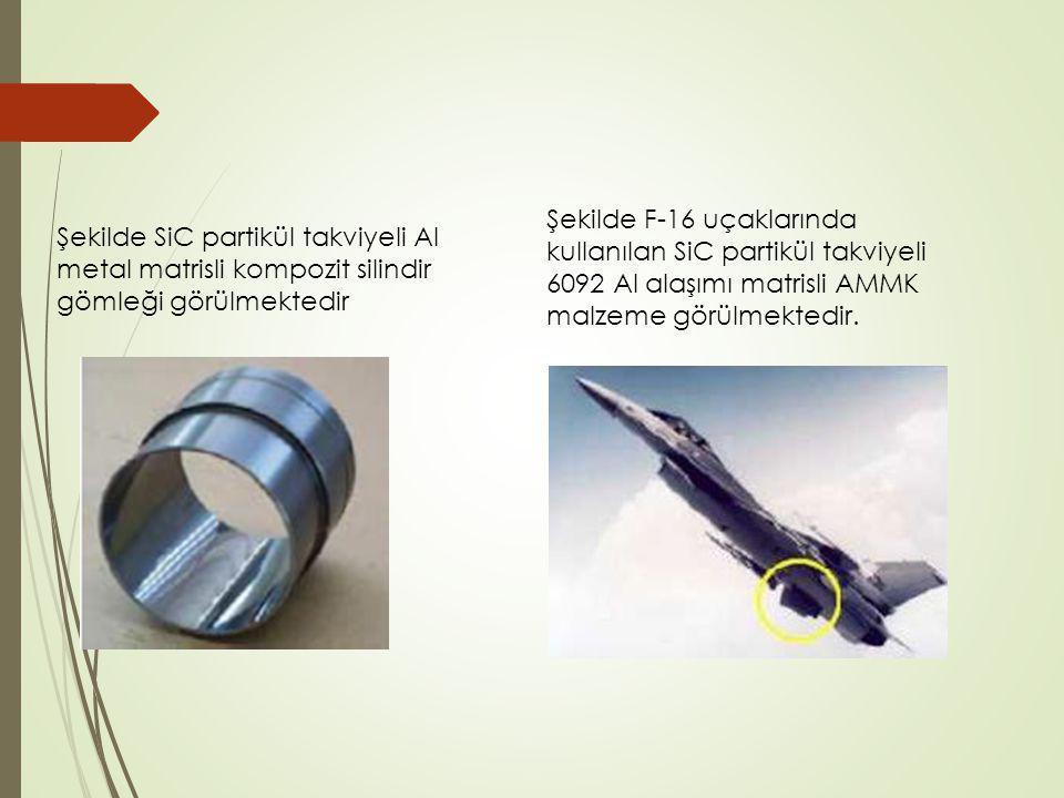 Şekilde F-16 uçaklarında kullanılan SiC partikül takviyeli 6092 Al alaşımı matrisli AMMK malzeme görülmektedir.