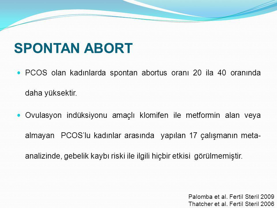 SPONTAN ABORT PCOS olan kadınlarda spontan abortus oranı 20 ila 40 oranında daha yüksektir.